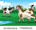 happy cows illustration in the... | Shutterstock .eps vector #778450162