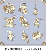 amazing vintage tattoos in...   Shutterstock .eps vector #778460365