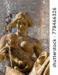 Small photo of Close-up of the fountain of goddess Diana, Archimede square in downtown of Ortigia, Syracuse, Sicily island, Italy