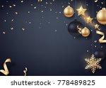 gold and black christmas balls... | Shutterstock .eps vector #778489825