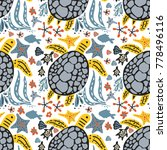 vector handdrawn sea seamless... | Shutterstock .eps vector #778496116