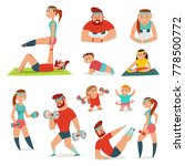 fitness couple man and woman... | Shutterstock .eps vector #778500772