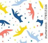 abstract handmade fox seamless... | Shutterstock . vector #778515166