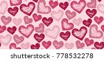 block print stamp hearts... | Shutterstock .eps vector #778532278