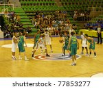 VILLEURBANNE, FRANCE - AUG 22: Exhibition Basketball tournament, Jump ball of the game between Brazil and Australia on August 22, 2010 in Astroballe, Villeurbanne, France. - stock photo
