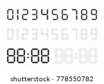 set of digital numbers on white