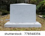 Empty Marble Gravestone In...