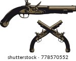 ancient pistol with a flintlock