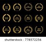 golden vector laurel wreaths on ... | Shutterstock .eps vector #778572256