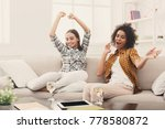 happy female friends chatting... | Shutterstock . vector #778580872