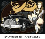 retro automobile with  vintage... | Shutterstock .eps vector #778593658