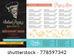 restaurant menu template with... | Shutterstock .eps vector #778597342