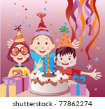 kids with birthday cake | Shutterstock .eps vector #77862274