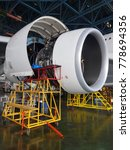 Small photo of Engine of aircraft wait for maintenance.
