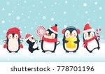 penguins cartoon vector... | Shutterstock .eps vector #778701196