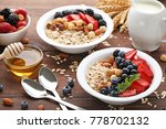 oat flakes in plate with... | Shutterstock . vector #778702132