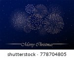 firework show on blue night sky ... | Shutterstock .eps vector #778704805