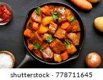 goulash  beef stew in cast iron ...   Shutterstock . vector #778711645