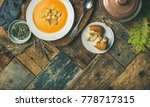 fall warming pumpkin cream soup ... | Shutterstock . vector #778717315