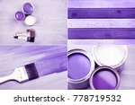 ultra violet collage with paint ... | Shutterstock . vector #778719532