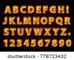 font lamp symbol  gold letter... | Shutterstock .eps vector #778723432