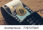 customer pays by bitcoin to pay ... | Shutterstock . vector #778727065
