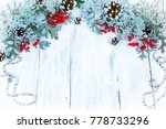 christmas wooden background... | Shutterstock . vector #778733296