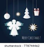 vector white paper angel toy ... | Shutterstock .eps vector #778744462