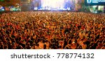 madrid   jun 24  the crowd in a ...   Shutterstock . vector #778774132