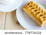 corn pie and coffee cup on... | Shutterstock . vector #778776226