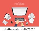 hands typing text on the... | Shutterstock .eps vector #778794712
