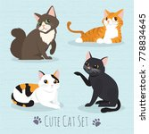 Stock vector set cute cats flat icons vector illustration cartoon 778834645