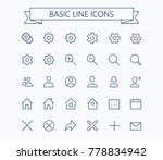 basic line mini icons.editable...