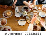 friends with desserts and... | Shutterstock . vector #778836886