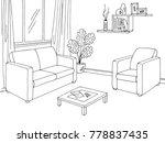 living room graphic black white ... | Shutterstock .eps vector #778837435