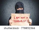 muslim girl in black hijab... | Shutterstock . vector #778852366