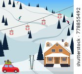 ski resort snow mountain... | Shutterstock .eps vector #778855492