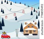 ski resort snow mountain... | Shutterstock .eps vector #778855492