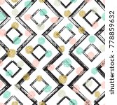 squares and zigzag paint brush...   Shutterstock .eps vector #778859632