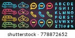 taxi elements car  chat and pin ... | Shutterstock .eps vector #778872652