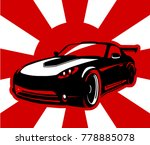 car on a background of red sun. ... | Shutterstock .eps vector #778885078