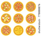 cartoon delicious pizzas with... | Shutterstock .eps vector #778888876