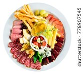 assorted plate with meat  bread ...   Shutterstock . vector #778907545
