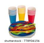 set of disposable plastic... | Shutterstock . vector #778936156