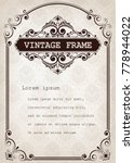 vintage frame with beautiful... | Shutterstock .eps vector #778944022
