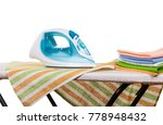 stack of clean towels and an... | Shutterstock . vector #778948432