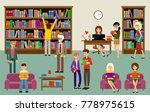 library interior with people... | Shutterstock .eps vector #778975615