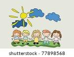 cartoon background with kids.   Shutterstock .eps vector #77898568