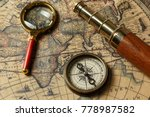 Retro Compass With Old Map And...