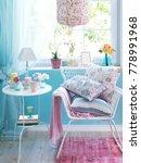 light blue wall and home corner ... | Shutterstock . vector #778991968